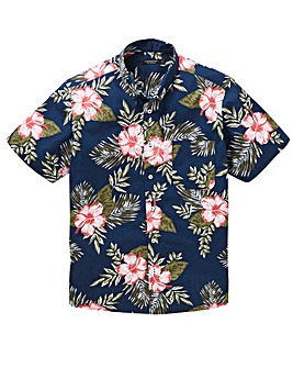 Navy Floral Short Sleeve Shirt Regular