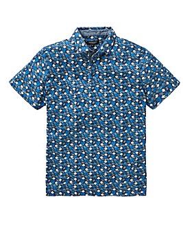 Navy Print Polo Shirt Regular