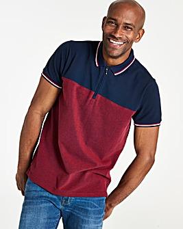 Navy/Red Colourblock Polo Shirt Regular