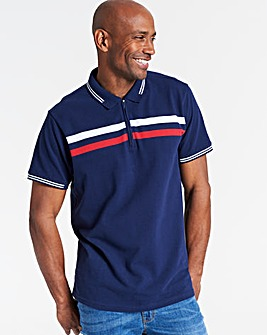 Navy Zip Neck Polo Shirt Regular