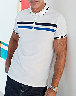 White Zip Neck Polo Shirt Regular