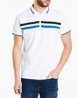 White Zip Neck Polo Shirt Regular