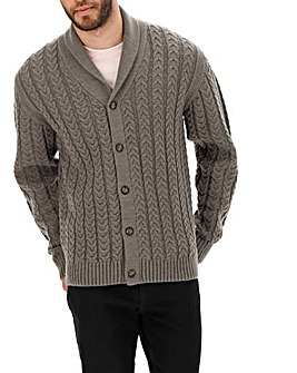 Grey Cable Knit Shawl Collar Cardigan