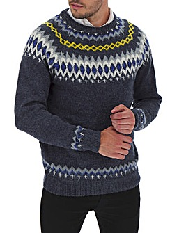 Navy Wool Mix Statement Crew Jumper Long