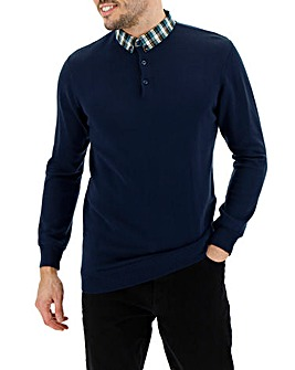 Navy Mock Collar Jumper Long