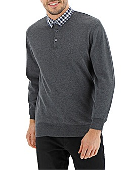 Charcoal Mock Collar Jumper Long