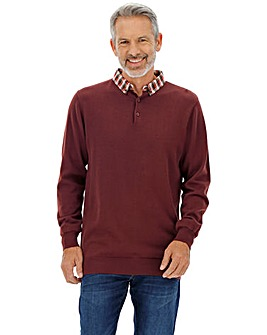 Burgundy Mock Collar Jumper Long