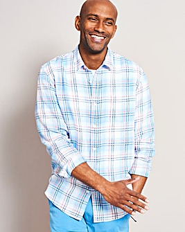 Long Sleeve Check Linen Shirt Regular