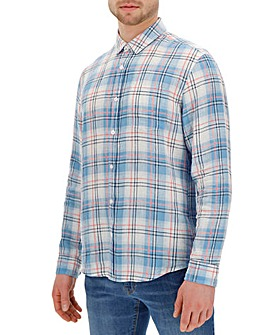 Long Sleeve Check Linen Shirt