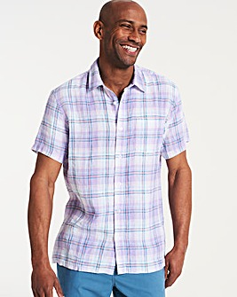 Short Sleeve Check Linen Shirt Regular