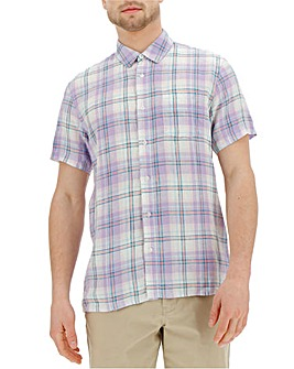 Short Sleeve Check Linen Shirt