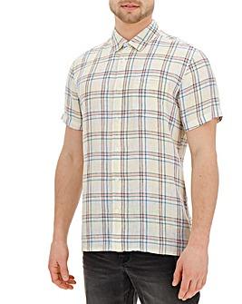 Short Sleeve Check Linen Shirt Regular
