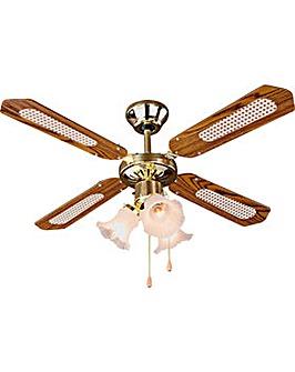 Decorative 3 Light Ceiling Fan - Brass