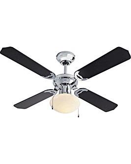 Ceiling Fan - Black & Chrome