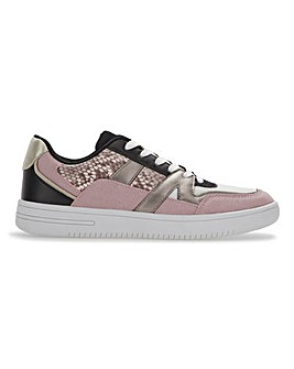 Tiffany Pink Snake Print Lace Up Trainers Wide Fit