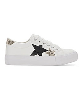 Anika Star Feature Lace Up Trainers Wide Fit