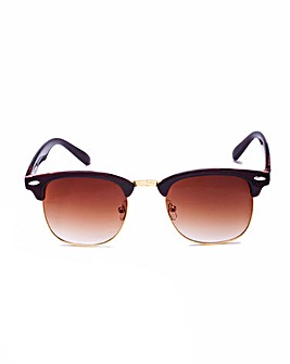 Luna Clubmaster Style Brown Sunglasses