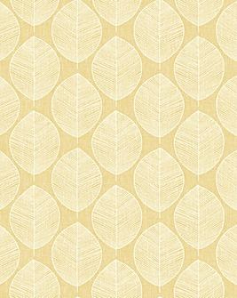 Scandi Leaf Yellow Wallpaper