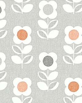 Retro Flower Grey and Orange Wallpaper