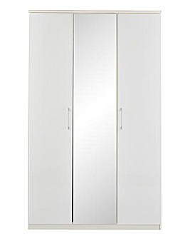 Riga Gloss 3 Door Wardrobe with Mirror