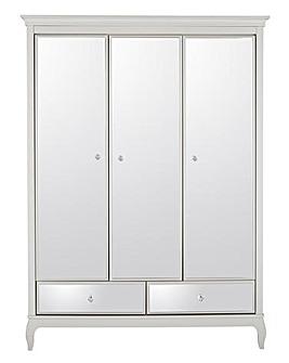 Elise Mirrored 3 Door 2 Drawer Wardrobe