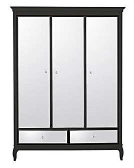 Elise Mirrored 3 Door 2 Drawer Wardrobe