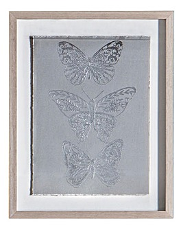 Silver Butterfly Framed Art