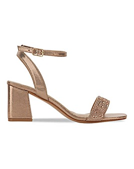 Tully Block Heeled Diamante Sandals Wide Fit
