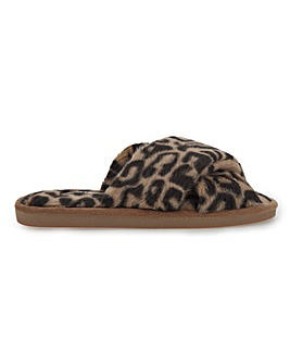 Frankie Cross Strap Leopard Fluffy Slippers Wide Fit