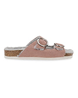 Grenstone Fluffy Footbed Slippers Wide Fit