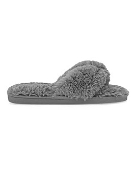 Leonora Fluffy Toe Post Slippers Wide Fit