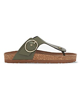 Kristen Leather Toepost Footbed Sandals Extra Wide Fit
