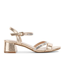 Corsica Diamante Block Heeled Sandals Wide Fit