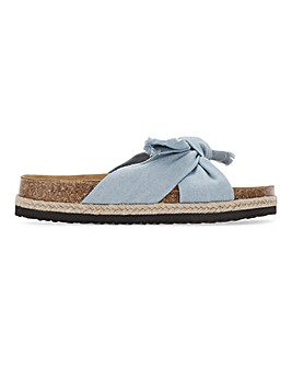 Louisiana Bow Flatfrom Footbed Mules Extra Wide Fit