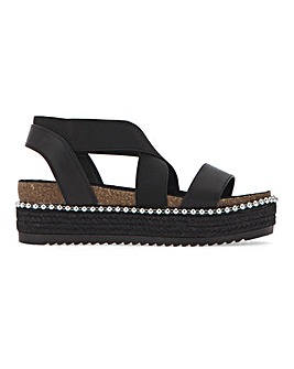 Adelle Elastic Flatform Sandals Wide Fit