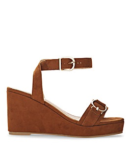 Cecilia Peep Toe Wedge Ankle Strap Sandals Extra Wide Fit
