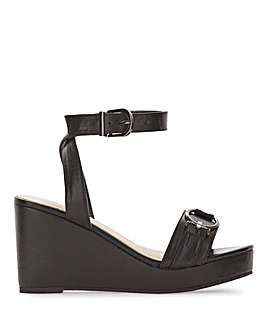 Cecilia Peep Toe Wedge Ankle Strap Sandals Wide Fit