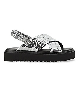 Danni Chunky Cross Strap Flatform Sandals Wide Fit