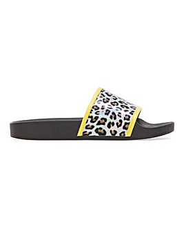 California Leopard Perspex Sliders Wide Fit