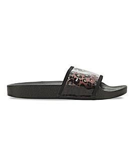 California Leopard Perspex Sliders Extra Wide Fit