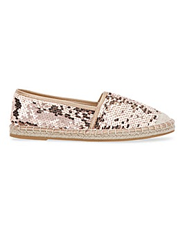 Sequin Espadrille Shoes Extra Wide Fit