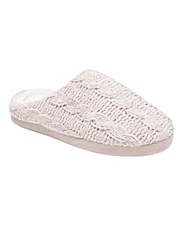 Frida Cable Knitted Mule Slippers Standard Fit