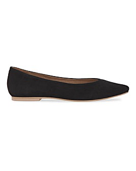 Leather Pointed Toe Ballerina Shoes Wide Fit