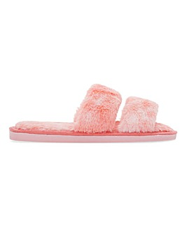 Asha Two Bar Fluffy Slider Slippers Wide Fit