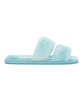 Two Bar Fluffy Slider Slippers Wide Fit