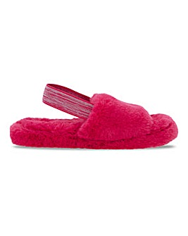 Ebony Fluffy Elasticated Back Slippers Standard Fit