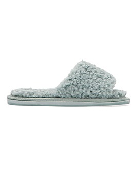 Terrie Fur One Band Slider Slippers Wide Fit