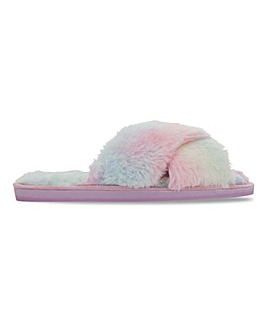 Crossover Fluffy Slippers Wide Fit