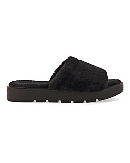 Athena Fluffy Mule Slippers Wide Fit