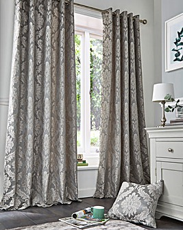 Pippa Damask Lined Eyelet Curtains